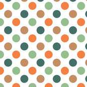 Green, Orange and Brown Polka Dot Pattern Design