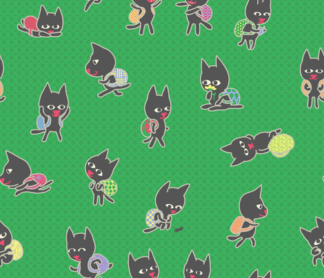 Just after the bell rings at kitten school fabric by mongiesama on Spoonflower - custom fabric