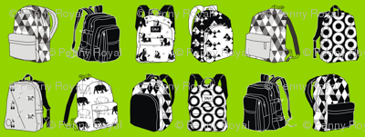 Monochrome Backpack Living in a Lime World