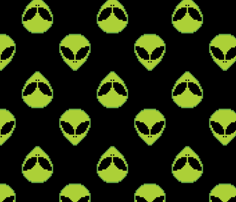 8 bit alien fabric castl3t0n spoonflower for Alien fabric