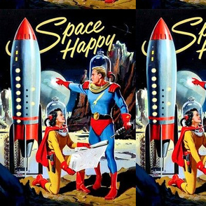 vintage retro kitsch astronauts science fiction futuristic spaceships rockets planets space man woman galaxy shuttle pilots Saturn moon pop art