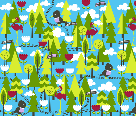 which way do we go? fabric by oliveandruby on Spoonflower - custom fabric