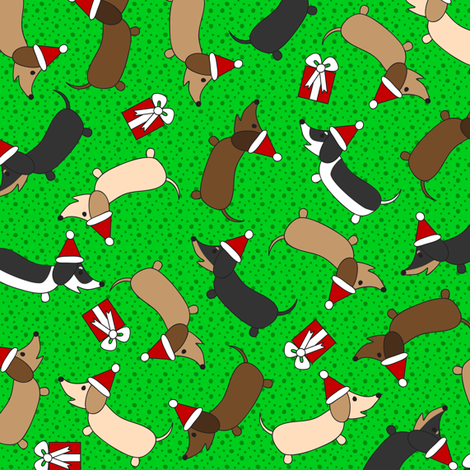 Merry Dachshunds (Green) fabric by robyriker on Spoonflower - custom fabric