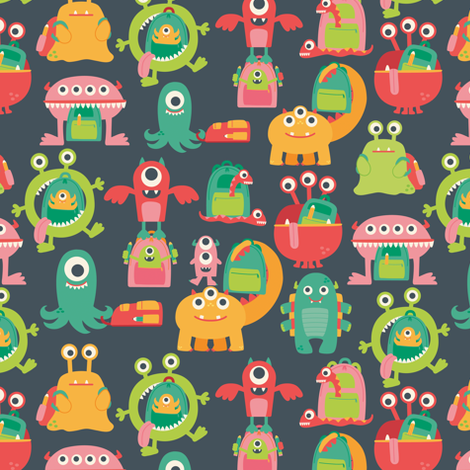 MonstersGotoSchool_Mayes_copy fabric by laura_mayes on Spoonflower - custom fabric