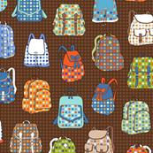 polka dot backpacks brown