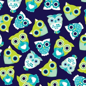 Colorful retro owls illustration boys pattern