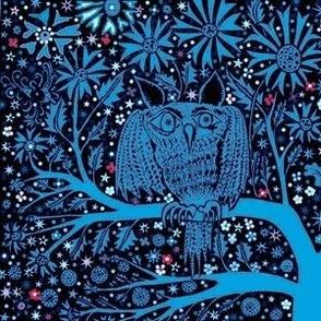 Dark night owl blue tree