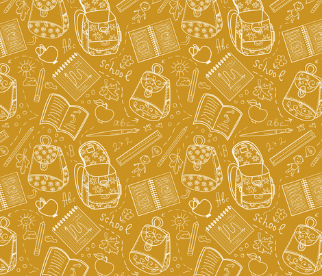 School orange pattern fabric by milta on Spoonflower - custom fabric
