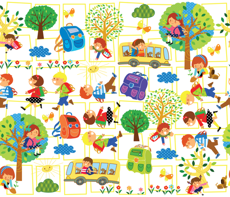 HAPPY BACK PACKIN! fabric by deeniespoonflower on Spoonflower - custom fabric