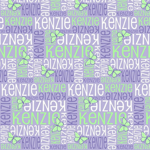 Personalised Name Design - Butterflies in purple and green