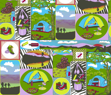 Hiking in the Mountains. fabric by art_on_fabric on Spoonflower - custom fabric