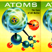 vintage retro kitsch chemistry atoms molecules protons electrons nucleus geek nerd science nuclear neutrons