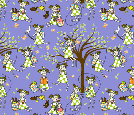 A day in the life of a girl and her backpack fabric by vo_aka_virginiao on Spoonflower - custom fabric
