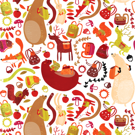 backpack woodland style fabric by laura_the_drawer on Spoonflower - custom fabric