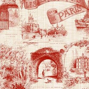 Les Environs de Paris ~ Toile de Jouy ~ Turkey Red ~ Linen Luxe