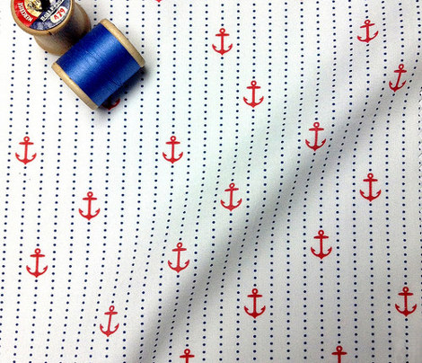 Sailor Anchors Red&Navy on White