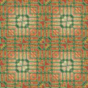 Garden Patio Tile Green Red Bricks