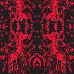 Night garden pony red black