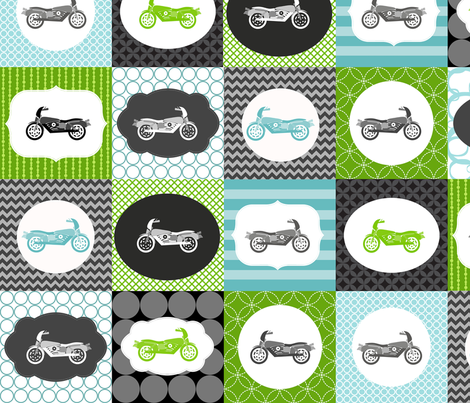 Sons Motorcycle Blocks 5x5 fabric by natitys on Spoonflower - custom fabric