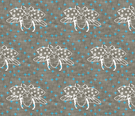 Beetle Formation (in Electric Blue) fabric by nouveau_bohemian on Spoonflower - custom fabric