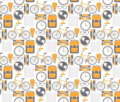 Bike Books Backpack fabric by katerhees on Spoonflower - custom fabric