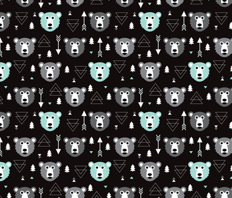 Geometric grizzly bear woodland illustration pattern fabric by littlesmilemakers on Spoonflower - custom fabric