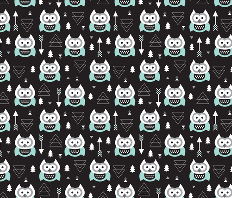 Geometric woodland arrow and owl winter pattern fabric by littlesmilemakers on Spoonflower - custom fabric