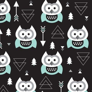 Geometric woodland arrow and owl winter pattern