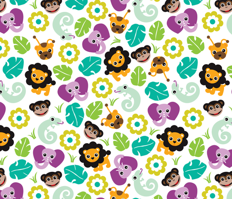 Exotic jungle animals lion lizard elephant and monkey illustration print fabric by littlesmilemakers on Spoonflower - custom fabric