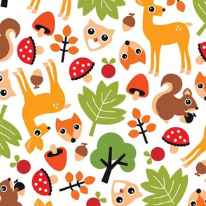 Woodland fall deer owl fox and squirrel animals