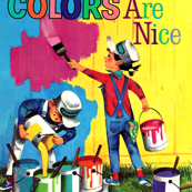 vintage retro kitsch children boys girls toddlers painters overalls colorful painting brushes buckets artists DIY