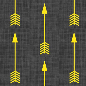 Yellow Arrows on Grey Linen - Grey Arrows-ch