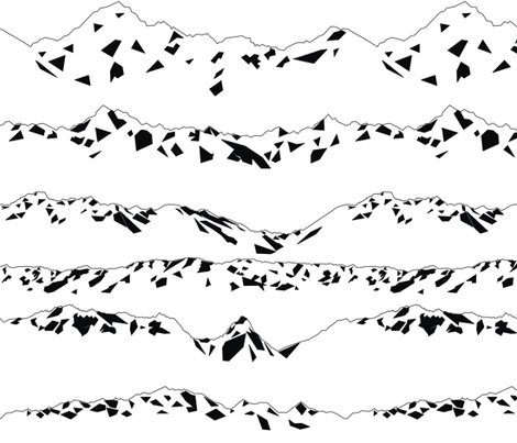 Geometric Mountains Black & White fabric by smuk on Spoonflower - custom fabric