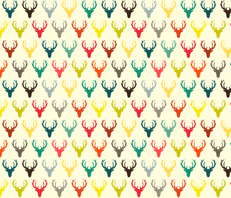 RETRO DEER HEAD SIMPLE CREAM fabric by scrummy on Spoonflower - custom fabric