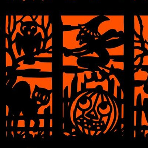 vintage retro kitsch halloween panels cats witches bumpkins cemetery cemeteries graves graveyards owls silhouette outlines jack lanterns shadows