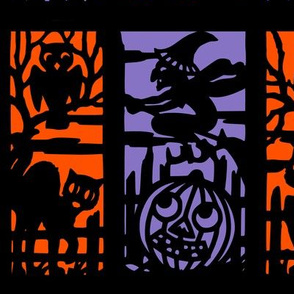vintage retro kitsch halloween panels cats witches bumpkins cemetery cemeteries graves graveyards owls silhouette outlines jack lanterns