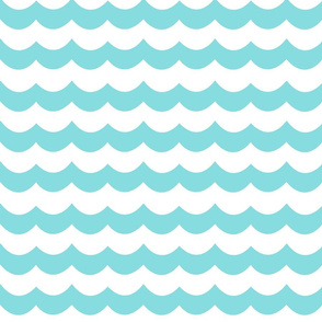 Custom Chevron Wave in Aqua