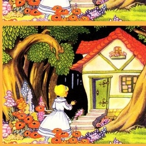 vintage kids kitsch fairy tales story children girls forests houses cottages flowers trees folk tales rustic countryside rural