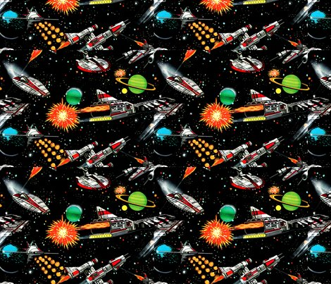 Vintage retro kitsch science fiction futuristic spaceships for Vintage space fabric