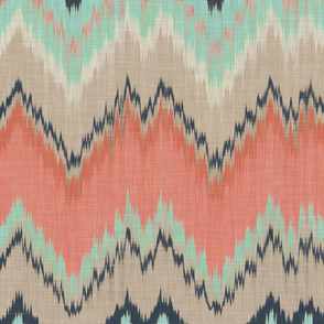 Large Scale Ikat Chevron in Mint, Coral and Navy