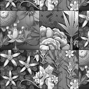 leaf quilt blocks greys
