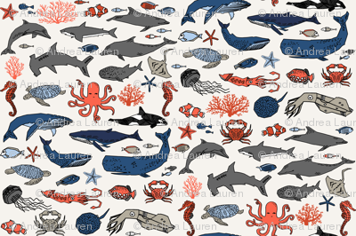 ocean animals // kids shark whale squid crab shark fish dolphin kids ocean nautical animals