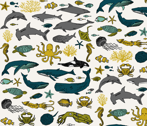 ocean // kids ocean nautical summer fish whale octopus kids crabs fabric by andrea_lauren on Spoonflower - custom fabric