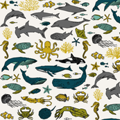 ocean // kids ocean nautical summer fish whale octopus kids crabs