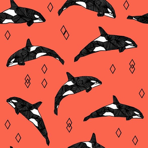 orca whales // ocean kids nautical summer kids orange coral baby nursery