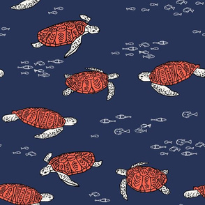 sea turtles //  ocean nautical blue and red fish kids summer