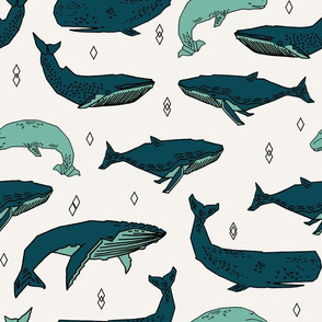 whale // whales ocean nautical green summer kids baby animals