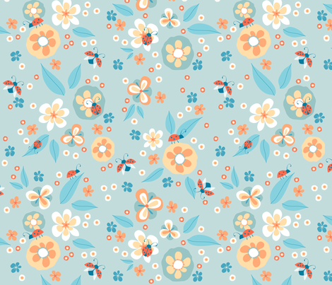 Ladybugs in the garden fabric by heleenvanbuul on Spoonflower - custom fabric