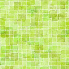 double watercolor squares in spring green