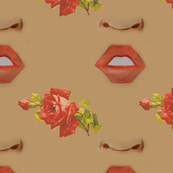 Watercolor Faceoff Flower Tan Background